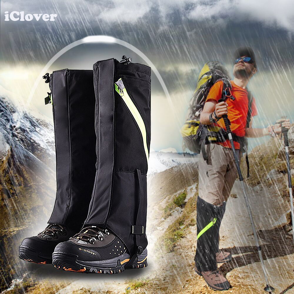 Hiking Legging Gaiters,IClover Waterproof Breathable High Leg Wraps Boots Shoes Cover Protection Snow Gaiter with Zippered Magic Tape Strap for Hiking Ski Snowboarding Trimming Grass