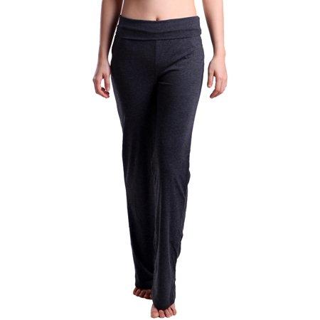 Button Flare Leggings - hde women's fold over waist yoga lounge pants flare leg workout leggings (black, small)
