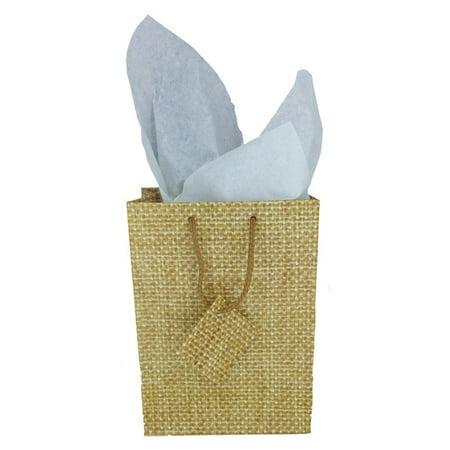 Burlap Print Matte Tote Gift Bag