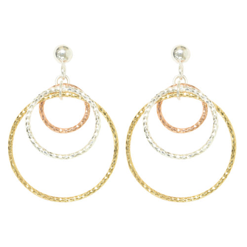 Forever New Rose Gold Tone/Gold Tone/Silver Tone Textured Dangle Earrings