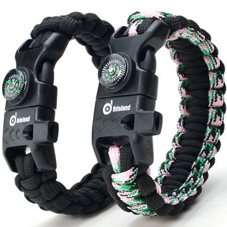 ODOLAND Paracord Bracelet Emergency Survival Cord 2-Peak Series Gear Kit w/ Compass Fire Starter Knife Whistle - Paracord Compass