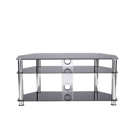 "Rfiver Black Tempered Glass Floor TV Stand with Chrome Legs for Most TVs up to 50"", TS2002"