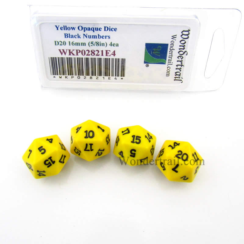 Yellow Opaque Dice with Black Numbers D20 16mm (5/8in) Pack of 4 Wondertrail