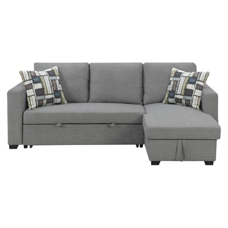 Strange Emerald Home Langley Fossil Gray And Multicolor Reversible Convertible Sectional W Storage With Pillows Fold Out Sleeper Pop Up Storage And Evergreenethics Interior Chair Design Evergreenethicsorg