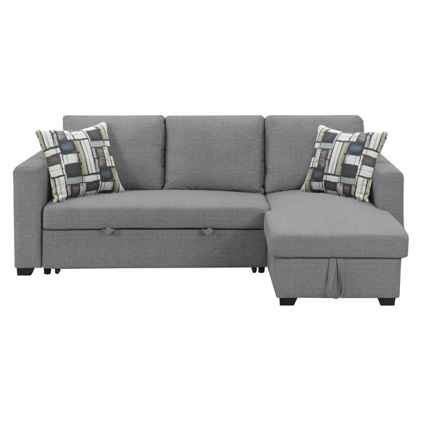 Emerald Home Langley Fossil Gray And Multicolor Reversible Convertible Sectional W Storage With Pillows Fold Out Sleeper Pop Up Storage And Reversible Chaise Walmart Com Walmart Com