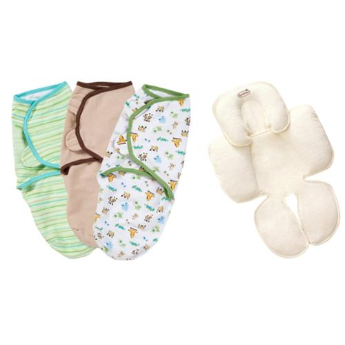 Summer Infant SwaddleMe Cotton Small/Medium 3-Pack with Terry Snuzzler Head & Body Support, Neutral