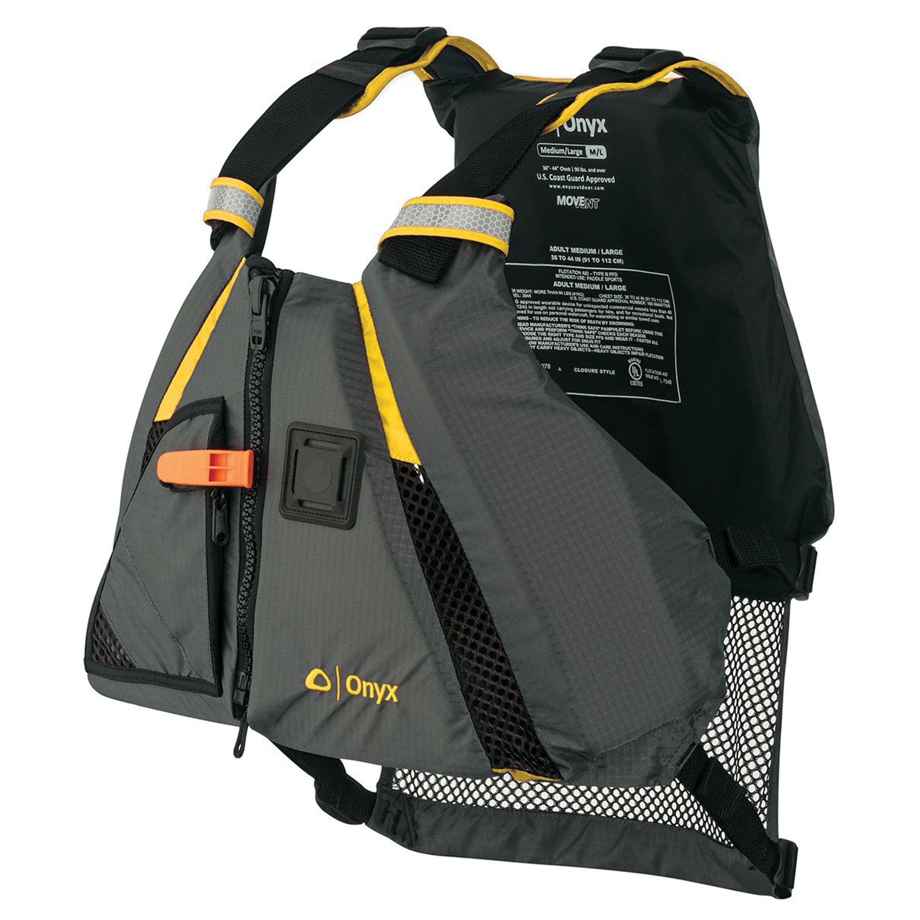 Onyx 122200-300-040-18 Onyx MoveVent Dynamic Vest Adult Yellow M/L