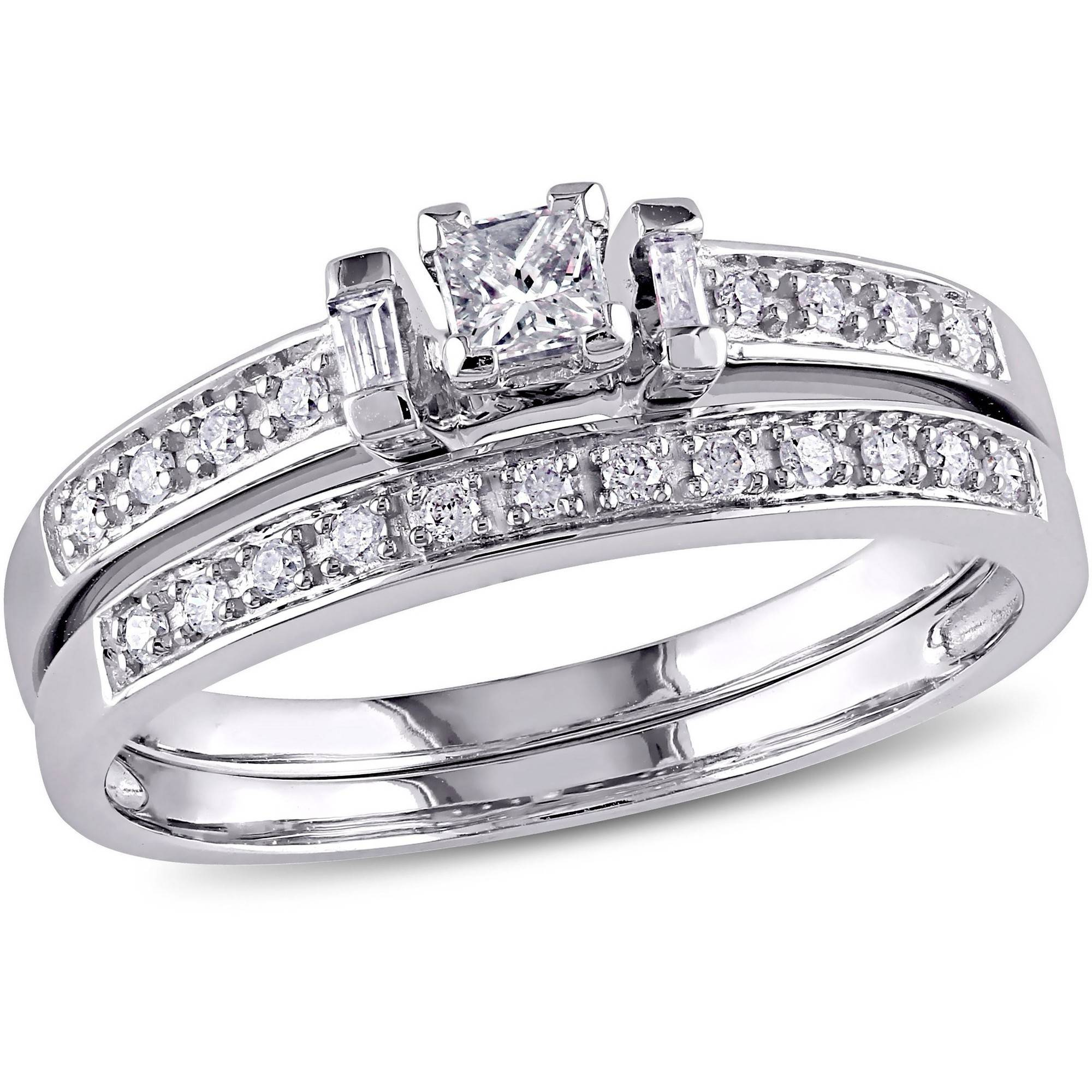 1/3 Carat T.W. Princess, Baguette and Round-Cut Diamond Bridal Set in 10kt White Gold