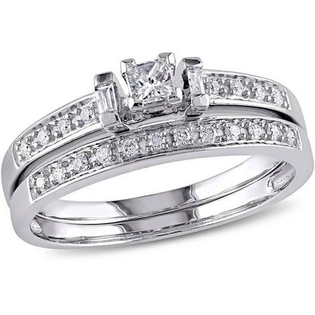 1/3 Carat T.W. Princess, Baguette and Round-Cut Diamond 10kt White Gold Bridal Set Bridal Channel Set Baguette