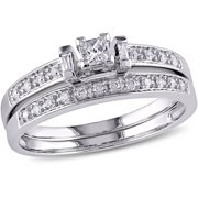 miabella 13 carat tw princess baguette and round cut diamond 10kt white - Wedding Ring Sets For Women