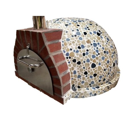 Pizza Oven Outdoor Blue Cream Tan Mosaic Tile, Wood Coal Fired BBQ Grill Roast, Stone Brick Clay Cement New