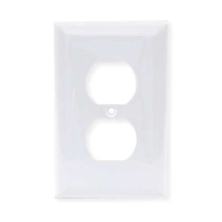 HUBBELL WIRING DEVICE-KELLEMS NP8W Duplex Wall Plate,1 Gang,White (Hubbell Wall)