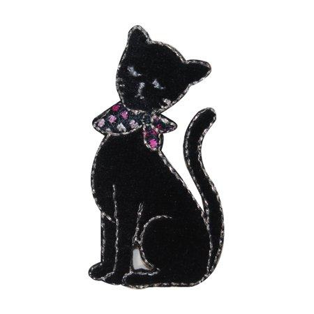 - ID 2891 Black Cat With Bandana Patch Kitty Kitten Embroidered Iron On Applique