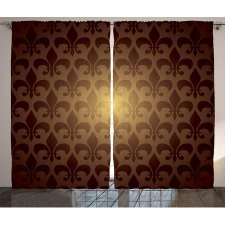 Fleur De Lis Decor Curtains 2 Panels Set Royal Lily