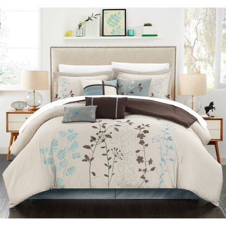 12 Piece Luxury Comforter Set In Beige Floral King