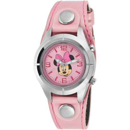 Disney Women's Minnie Mouse Light-Up Pink Watch, Simulated-Leather Strap