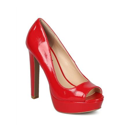 Crinkle Patent Women Pump (Women Crinkle Patent Peep Toe Platform Thick Heel Pump)