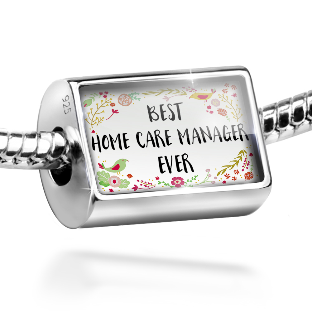 Bead Happy Floral Border Home Care Manager Charm Fits All European Bracelets