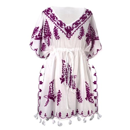 Peach Couture Summer Womens Boho Cotton Floral Embroidered Cover-up Beachwear Kaftan Tunic White Purple