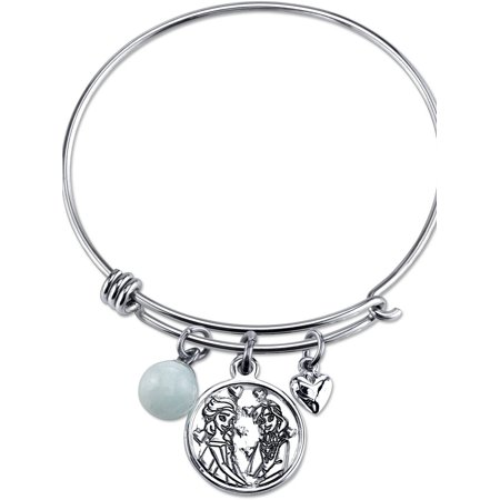 Women's Stainless Steel Sisters Forever Elsa and Anna Heart and 8mm Amazonite Bead Bangle Bracelet