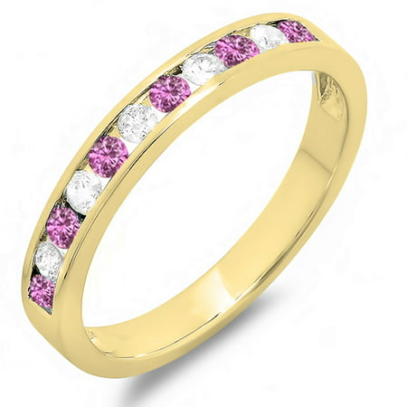 Dazzlingrock Collection 14K Round Pink Sapphire & White Diamond Ladies Wedding Stackable Ring Band, Yellow Gold, Size 7.5 (Sapphire Medium Stackable Ring)