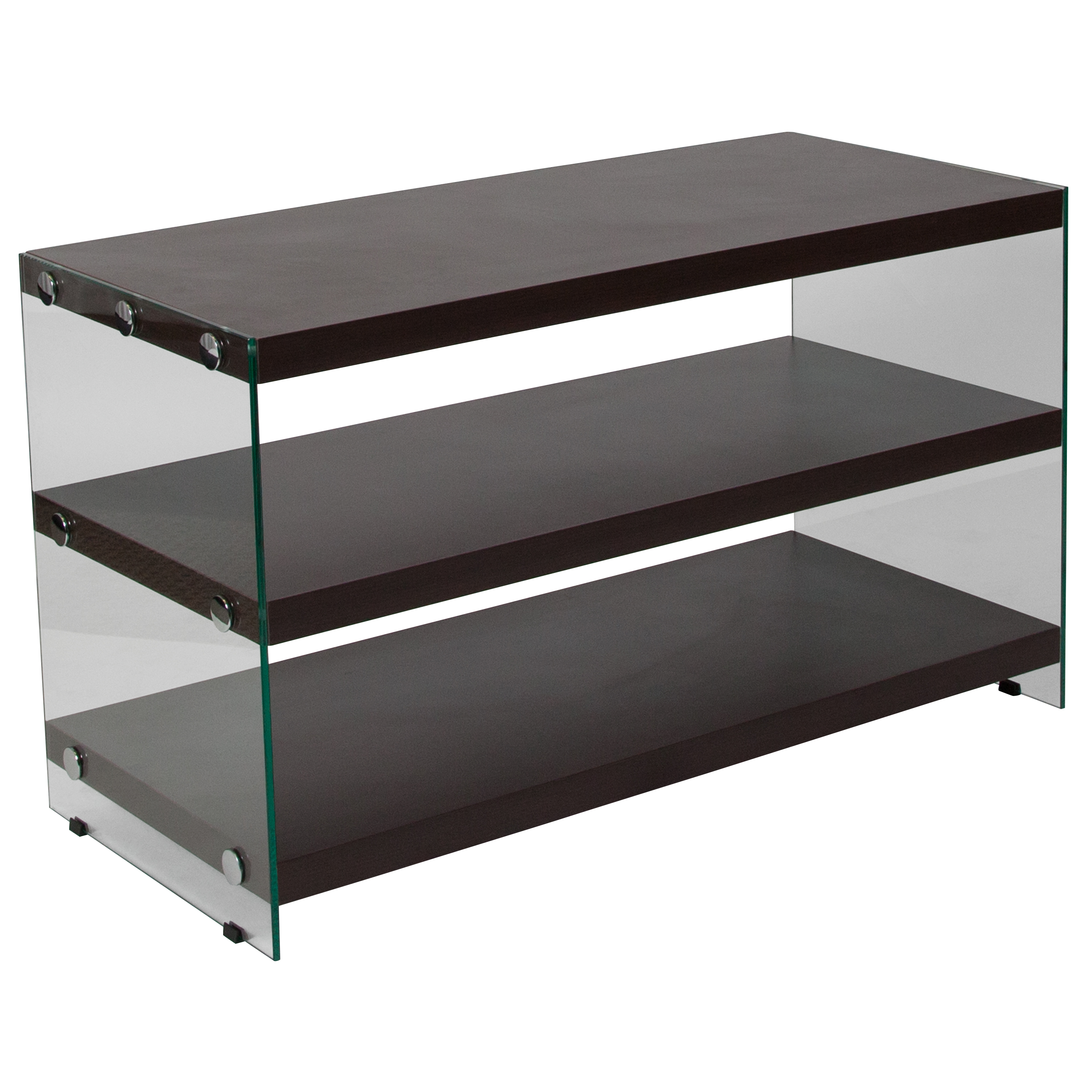 Flash Furniture Wynwood Collection Dark Ash Wood Grain Finish TV Stand with Shelves and Glass Frame
