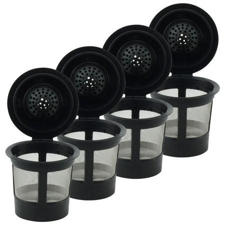 4 Pack Keurig Single K-Cup Solo Reusable Coffee Filter Pods Stainless Mesh for K10 K15 K40 K45 K55 K60 K65 K70 K75 K79 (Reusable K Cup Keurig K45)