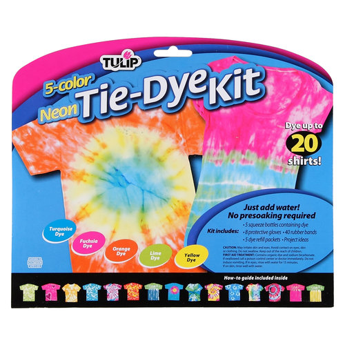 Tulip One-Step Tie Dye Kit, Neon, 5pk