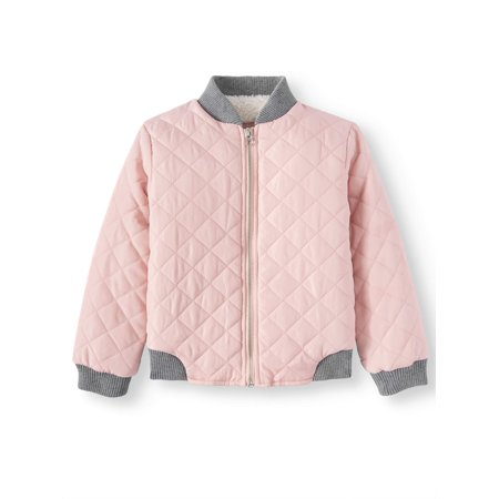 BHIP Quilted Bomber Jacket with Faux Fur Lining (Little and Big Girls) (Bomber Jacket Costume)