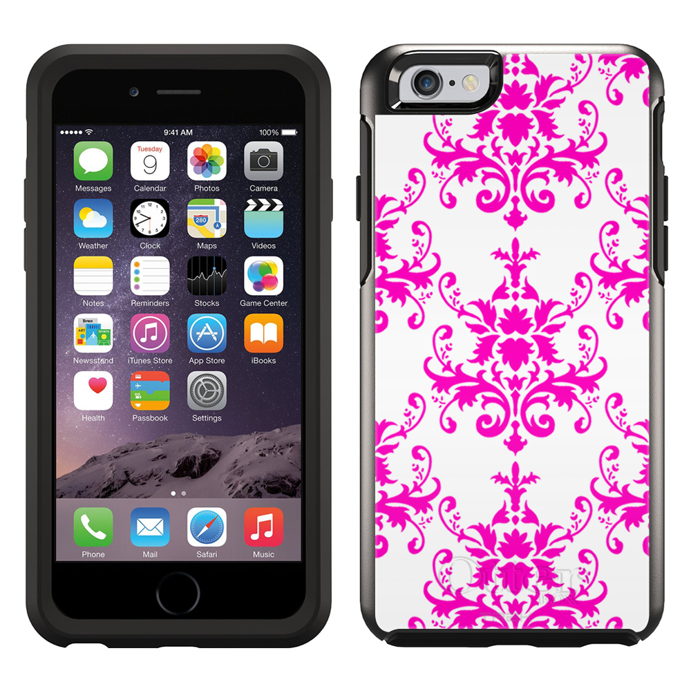 SKIN DECAL FOR OtterBox Symmetry Apple iPhone 6 Case - Damasks Pattern Pink on White DECAL, NOT A CASE