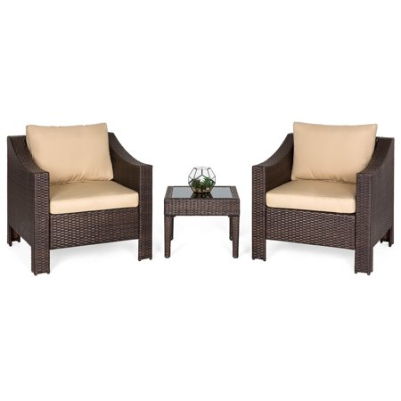 Best Choice Products Set of 2 Outdoor Patio Wicker Club Patio Accent Chairs with Side Table, Brown (Wicker Chair Outdoor)