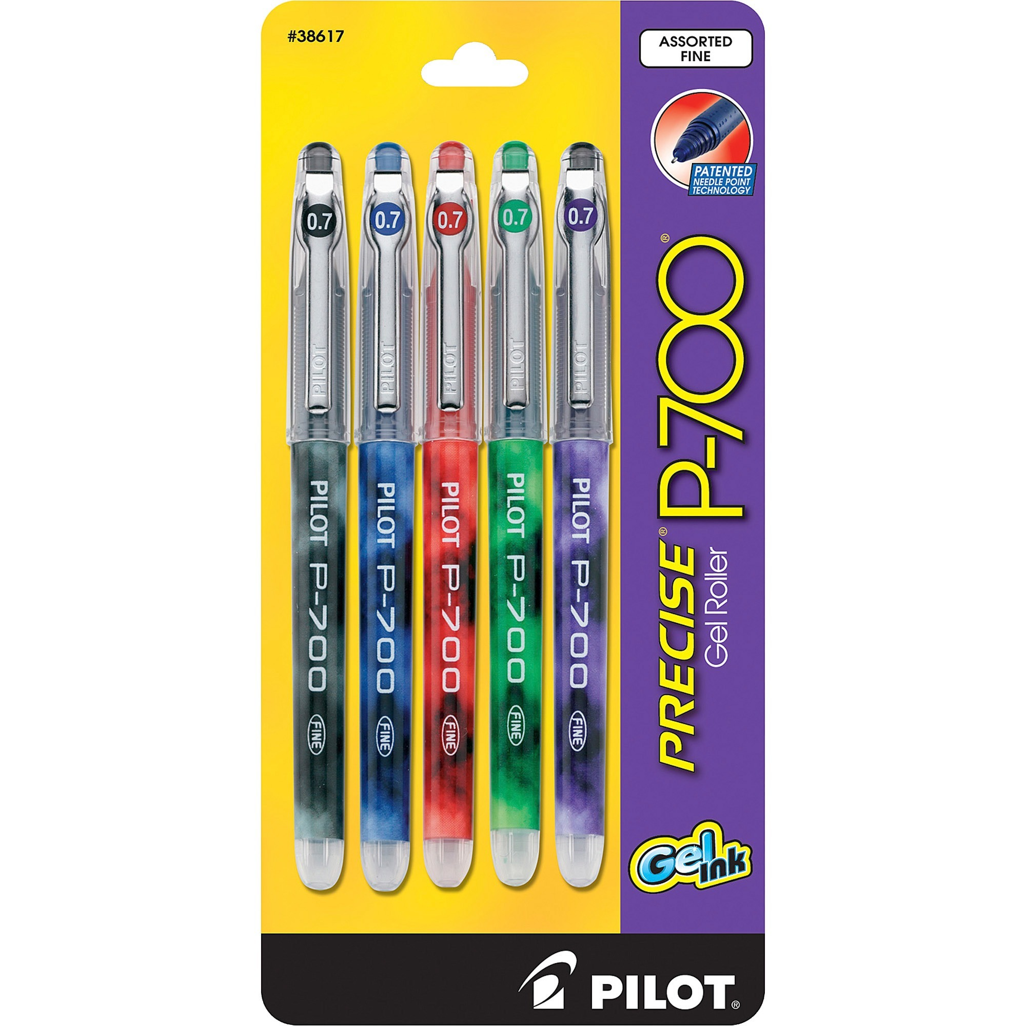 Pilot Precise P-700 Precision Point Fine Capped Gel Rolling Ball Pens, 5 / Pack (Quantity)