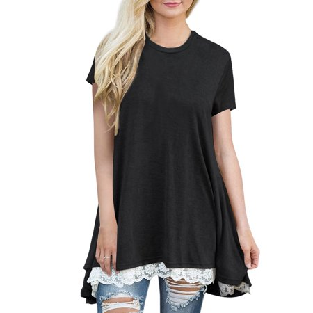 df0e58a04 Tunic Shirt,Aniwon Cotton Stylish Lace Hem Short Sleeve Casual T-shirt  Loose Blouse