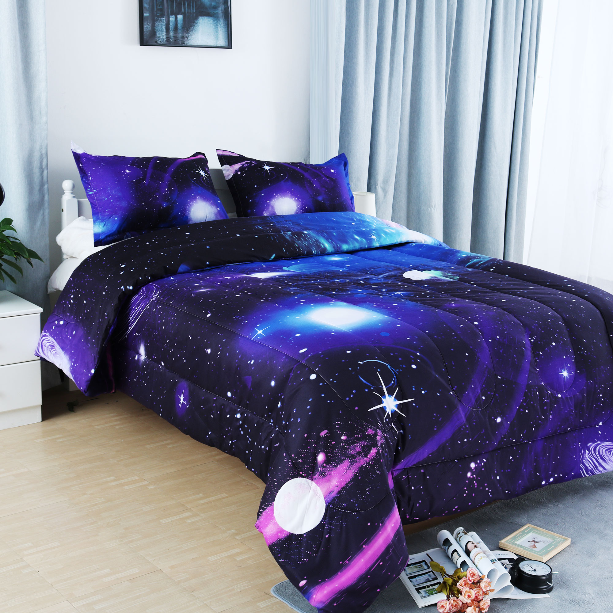 Full/Queen 3pcs Galaxies Purple Comforter Set All-season Down Quilted Duvet