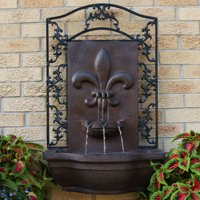 Product Image Sunnydaze French Lily Solar Outdoor Wall Fountain Iron On Demand Feature