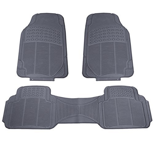 Heavy Duty Weather Resistant 3pc Gray Floor Mats for your Car, SUV & Truck (Gray)