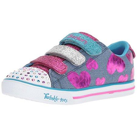 Skechers Kids Girls' Sparkle Lite-Flutter Fab Sneaker, Denim/Multi, 10.5 Medium US Little Kid