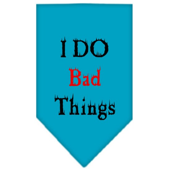 Mirage 66-31 SMTQ I Do Bad Things Screen Print Pet Bandana Turquoise Small