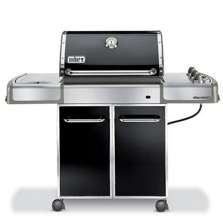 weber genesis e 320 black lp gas grill with side burner. Black Bedroom Furniture Sets. Home Design Ideas