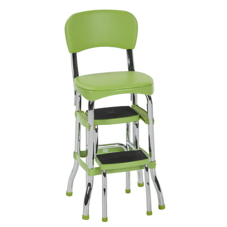 Retro Chair With Step Stool - Cosco Green Retro Counter Chair / Step Stool