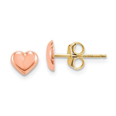 Madi K SE1731 14K Rose Gold Heart Post Earrings Rose Earring Posts