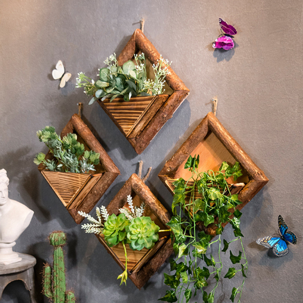 1pc DIY Wooden Wall Mounted Shelf Hanging Rack Artificial Flower Plant Display Stand Storage Decor for Home Shop Cafe