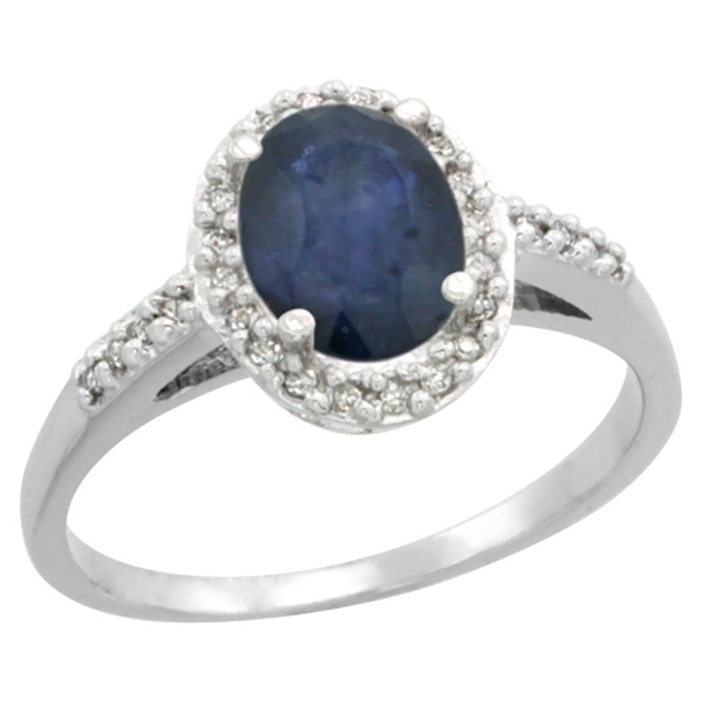 10K White Gold Diamond Natural Australian Sapphire Ring Oval 8x6mm, sizes 5-10 by WorldJewels
