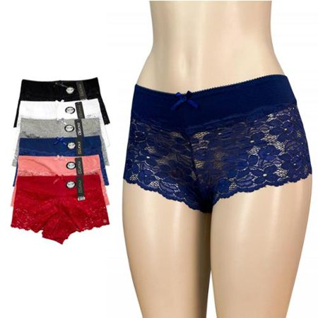 Women's Spandex Lace Hipster Cotton Stretch Trim Shorts Panties Sheer 6 Pack, (Multi-color, Small)
