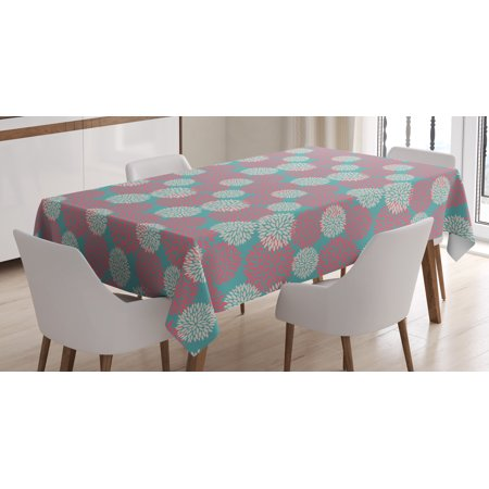 Rustic Home Tablecloth, Efflorescing Garden Theme Extravagant Rural Wild Jungle Abundant Plants, Rectangular Table Cover for Dining Room Kitchen, 60 X 84 Inches, Teal Pink White, by Ambesonne
