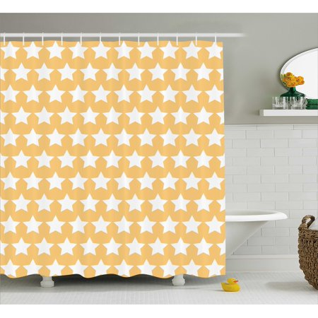 Modern Shower Curtain Shabby Chic Feminine Pattern In Soft Toned With Bloom And Star Figures