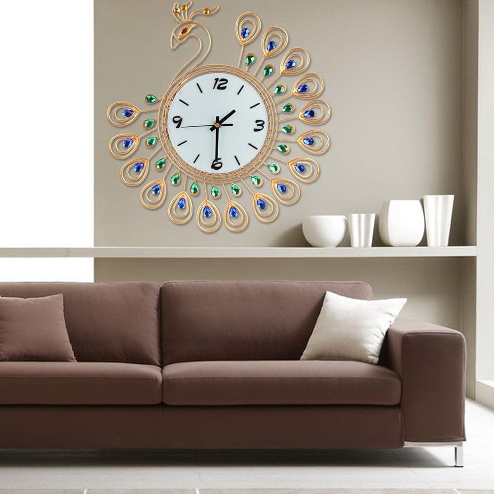 Large Wall Clock Pea Art Metal Modern Luxury Diamond Indoor Home Living Room