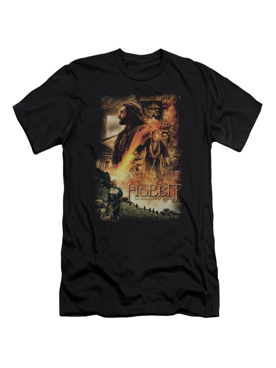 The Hobbit Desolation of Smaug Movie Bilbo & Thorin Golden Chamber Adult Slim T by Trevco