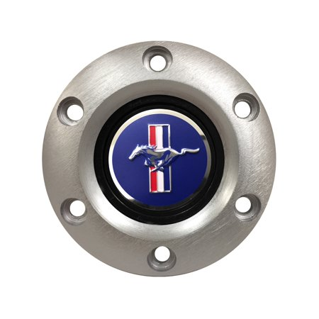 Volante Steering Wheels S6 Horn Button; w/Ford Mustang Blue Running Pony 3-D Foil Emblem; Brushed; (Mustang Pony Wheels)