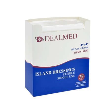 Dealmed Bordered Gauze Island Dressing, Sterile, 4